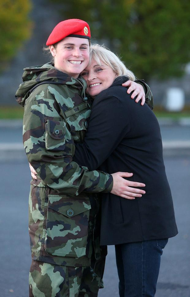 Cpl Sinead Taylor, from Offaly, with her mum, Sharon