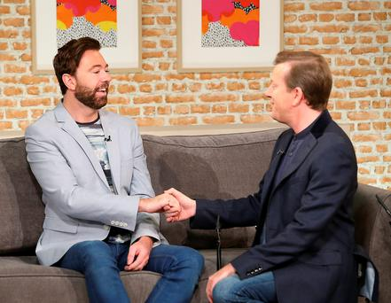 Alan Hughes pops the question to partner Karl Broderick on Ireland AM. Picture: Brian McEvoy