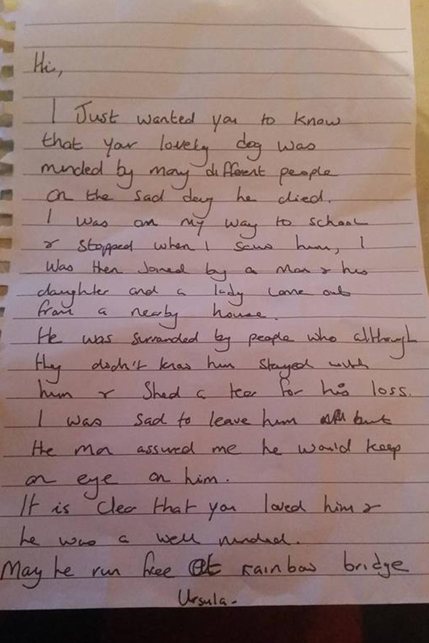Irish woman seeks kind stranger who stopped to fort her dying