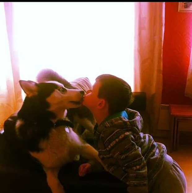 Lisa's son Jordan with Shadow. 'He lost his best friend'.