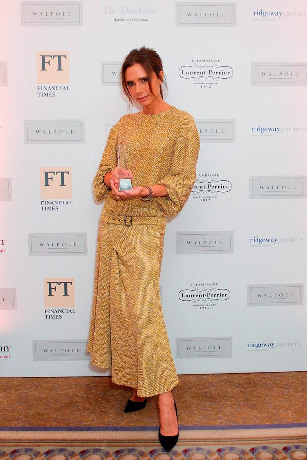 Handout photo issued by the Walpole Awards of Victoria Beckham who won British Luxury Brand of the Year at the Walpole British Luxury Awards at the Dorchester in London. Picture: Walpole Awards/PA Wire