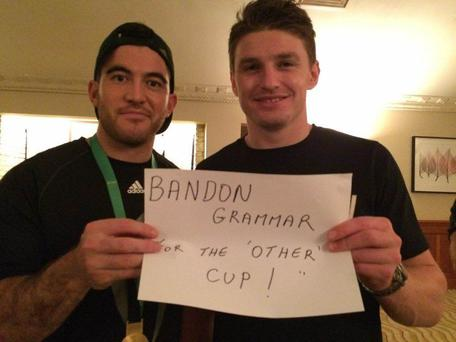 Nehe Milner-Skudder and Beauden Barrett after the World Cup Final with a message of support for Cork school Bandon Grammar