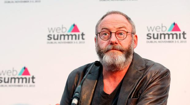 Actor Liam Cunningham speaking to media at the Web Summit at the RDS. Pic Steve Humphreys