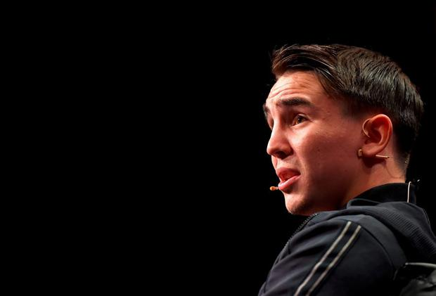 World, European & Commonwealth Champion boxer Michael Conlan on the Sport Stage during Day 1 of the 2015 Web Summit in the RDS, Dublin, Ireland. Picture credit: Brendan Moran / SPORTSFILE / Web Summit