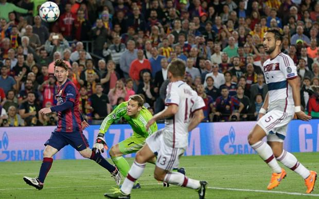 Lionel Messi's bravura chip against Bayern Munich was a moment of startling beauty Photo: AP