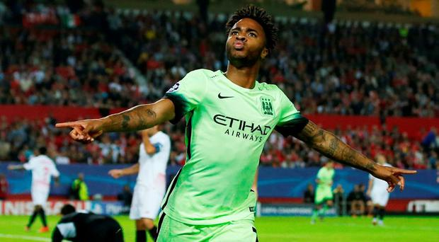 Manchester City's Raheem Sterling celebrates scoring their first goal Action Images via Reuters / Andrew Boyers Livepic