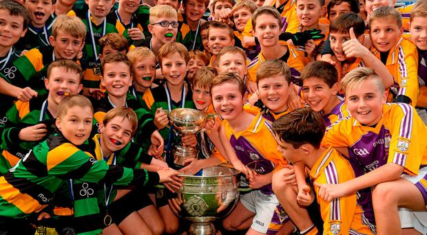Hollypark BNS and Scoil Lorcáin teams with the Kitterick Cup and Sam Maguire Cup after their Cumann na mBuncol final in Croke Park yesterday ended in a draw and the title was shared