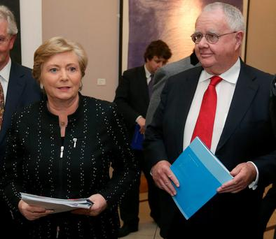 Justice Minister Frances Fitzgerald and Prisons Inspector Judge Michael Reilly at the launch of the Prison Culture Report