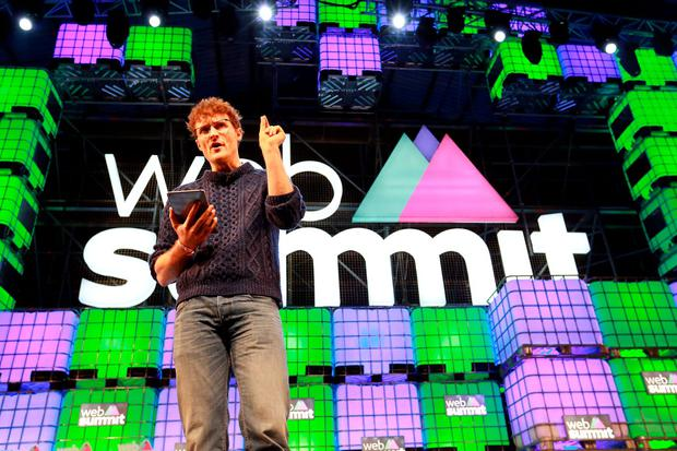 Paddy Cosgrave, co-founder of the Web Summit, on the opening day at the RDS. Photo: Frank McGrath