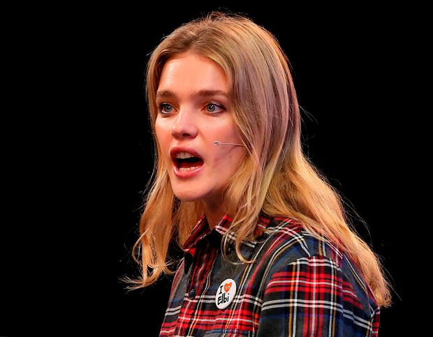 Russian philanthropist Natalia Vodianova speaks at the summit