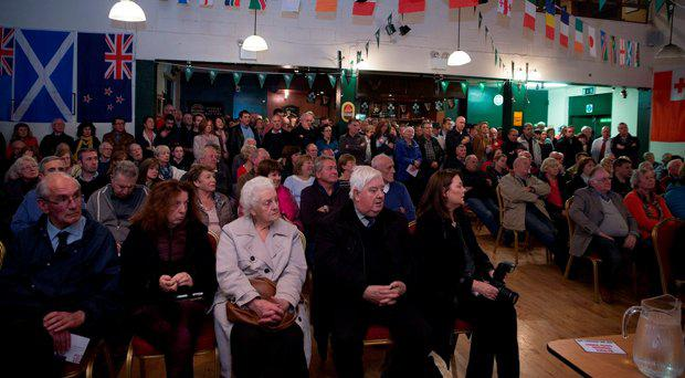 Hundreds attend a public meeting in De La Salle Palmerston F.C. Kilternan, to discuss the rocketing rate of burglaries in the Stepaside area in Dublin