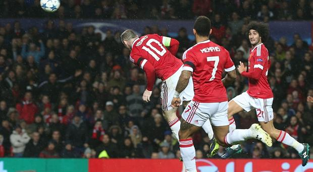 Wayne Rooney scores the winning goal against CSKA Moscow at Old Trafford