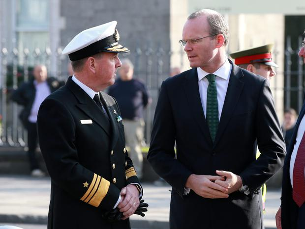 Minister Simon Coveney pictured with Vice Admiral Mark Mellett Chief of Staff of thr Irish Defence Forces before funeral mass for Lt Col Jack Griffin at the Cathedral of the Assumption in Thurles. Picture Credit: Frank Mc Grath