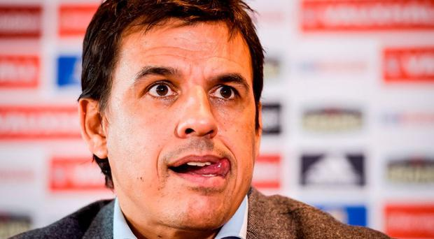 Wales manager Chris Coleman responds to question during the press conference at St David's Hotel, Cardiff. Ben Birchall/PA Wire.