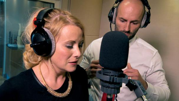 Selina and Brett record their audio book for The Apprentice