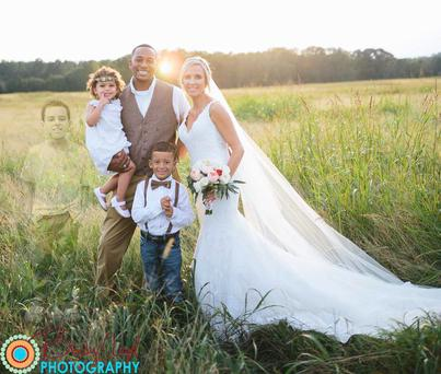 Anna Bozman Thompson, from Atlanta USA, and her fiancé Travis lost their son Lake (8) in May to Acute Myeloid Leukaemia and incorporated him into their wedding pictures.