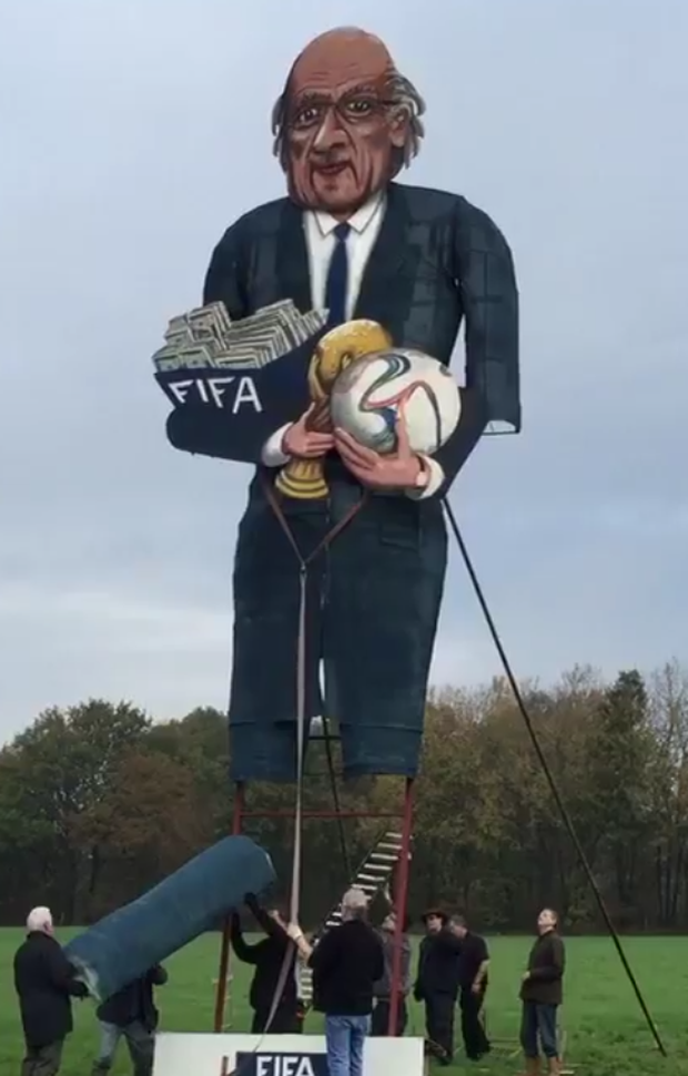 The 36ft tall effigy of Sepp Blatter that will be burnt in Kent on Bonfire night Credit:Twitter/Tom_PughPA