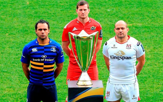 Pictured are Isa Nacewa, left, Leinster, Denis Hurley, Munster, and Rory Best, right, Ulster, pose with the trophy. 2015/16 European Rugby Champions Cup and Challenge Cup Launch. The Stoop, Twickenham, England. Picture credit: Matt Impey / SPORTSFILE