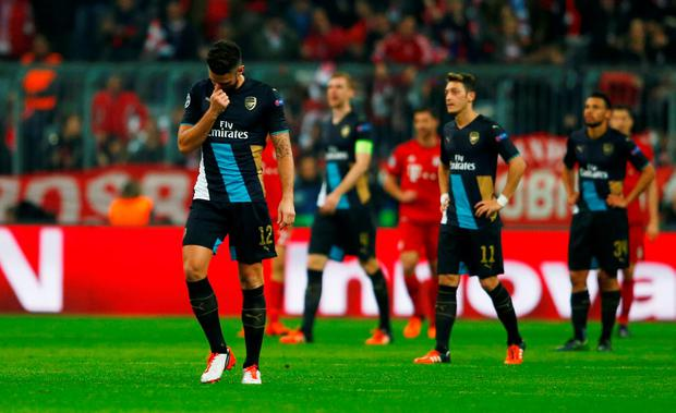 Arsenal's Olivier Giroud looks dejected after Arjen Robben scored the fourth goal for Bayern Munich Reuters / Michael Dalder