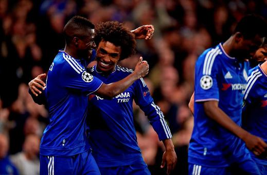 Chelsea's Willian celebrates scoring his side's winner with team-mate Ramires d