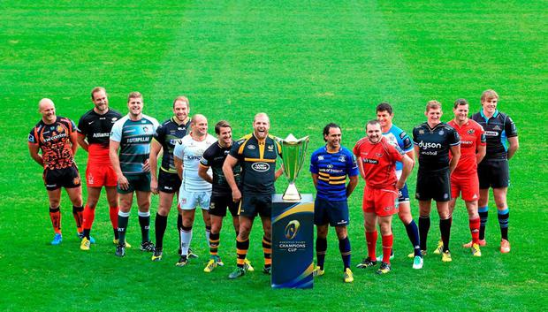 From left: Jack Yeandle (Exeter), Alistair Hargreaves (Saracens), Ed Slater (Leicester), Alun-Wyn Jones (Ospreys), Rory Best (Ulster), Lee Dickson, (Northampton), James Haskell (Wasps), Isa Nacewa (Leinster), Ken Owens (Scarlets), Alessandro Zanni (Treviso), Stuart Hooper (Bath), Denis Hurley (Munster) and Jonny Gray (Glasgow) at the Champions Cup launch