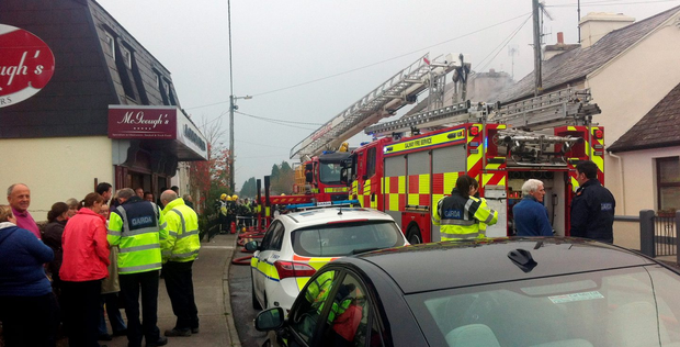 The scene of the fatal fire in Oughterard, Co Galway, which broke out shortly after noon yesterday Photo: Andrew Downes