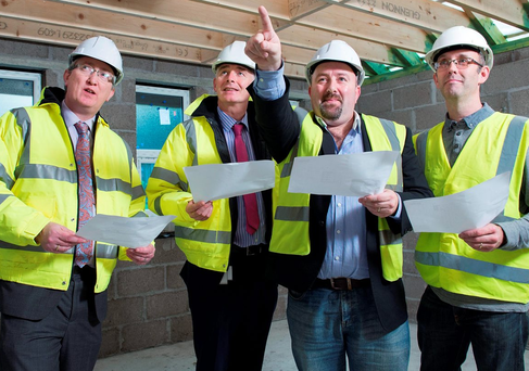 Andrew McCarthy and Harry Canning from Bon Secours Hospital Cork with John Calnan and Tim O'Connell of St Vincent de Paul as Bon Secours Hospital Cork announced €50,000 in funding for a shower block extension at St Vincent's Homeless Hostel on Anglsea Street in the city
