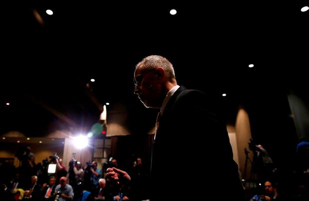 Lake County Major Crimes Task Force Commander George Filenko arrives at a news conference to address the death of Fox Lake Police Lieutenant Charles Joseph Gliniewicz in Round Lake Beach, Illinois, United States, November 4, 2015. REUTERS/Jim Young
