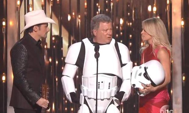 William Shatner on stage at the CMAs with Brad Paisley and Carrie Underwood. Yes, that's a stormtrooper costume