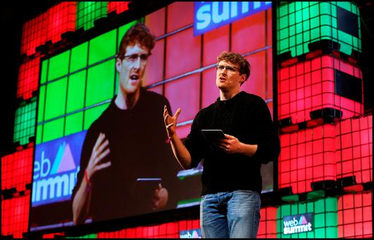 Paddy Cosgrave Co Founder and CEO speaking at the Web Summit at the RDS. Pic Steve Humphreys 4th November 2015.