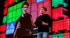 Paddy Cosgrave Co Founder and CEO speaking at the Web Summit at the RDS. Pic Steve Humphreys