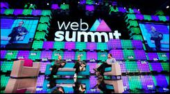 John Sculley, Obi Worldphone and Robert Brunner from Ammunition Group (centre) chats with Stephen Shankland from CNET News speaking at the Web Summit at the RDS. Pic Steve Humphreys