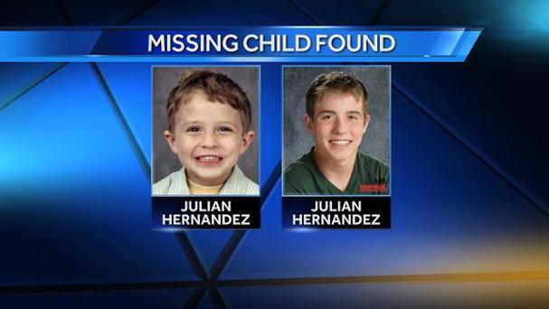 Julian aged five (left) and as he looks now (right) Credit: National Centre for Missing and Exploited Children