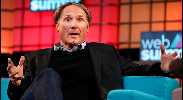 DaVinci Code Author Dan Brown speaking at the Web Summit at the RDS. Pic Steve Humphreys