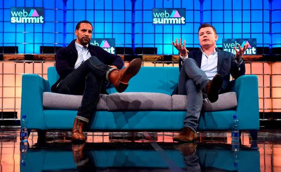 Brian O'Driscoll, right, and Rio Ferdinand on the Centre Stage during Day 3 of the 2015 Web Summit in the RDS, Dublin, Ireland. Picture credit: Stephen McCarthy / SPORTSFILE / Web Summit