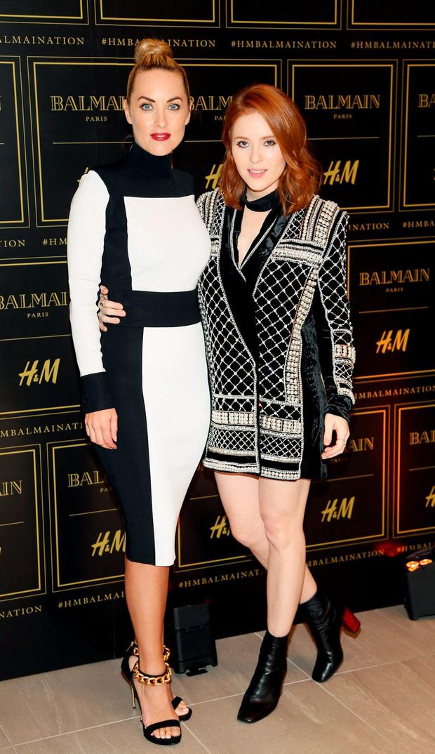 Kathryn Thomas and Angela Scanlon at the launch of Balmain X by H&M at their College Green, Dublin, store