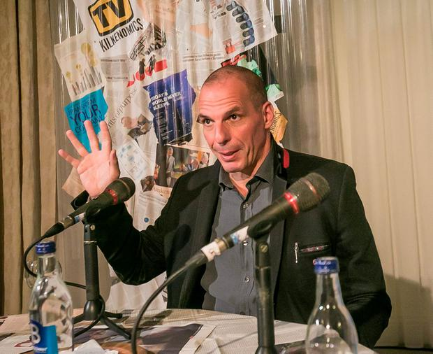 Pictured is former Greek finance Minister Yanis Varoufakis during the press conference at Butler House in Kilkenny city before he opened the 6th Kilkenomics festival in St Canice's Cathedral on Thursday night, with a special one to one interview with David McWilliams. Photo: Pat Moore.