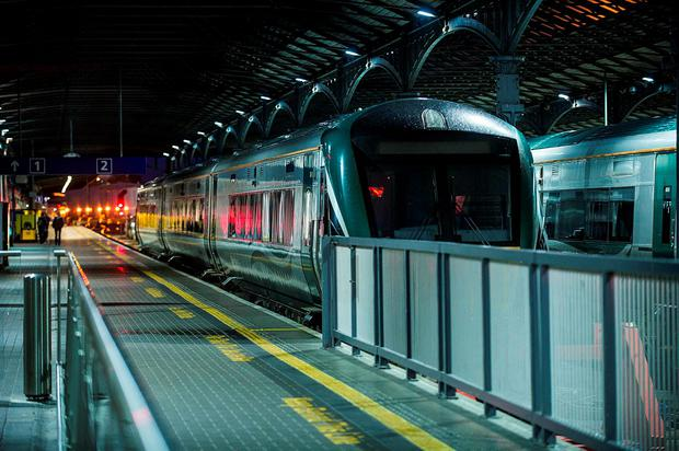 Trains standing idle on the platform of Heuston Station during the last three-hour strike by train drivers at Iarnród Éireann