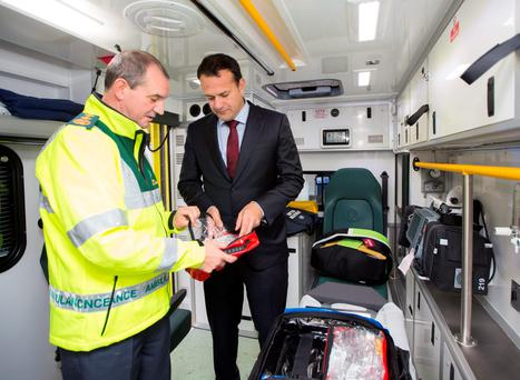 Minister for Health Leo Varadkar with Chief Ambulance Officer Pat Grant at the announcment of 64 brand new ambulances