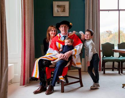 Paul O'Connell with his wife Emily and children Lola (1) and Paddy (5) at the conferring ceremony in the University of Limerick