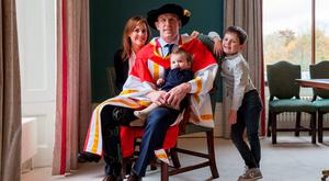 Paul O'Connell with his wife Emily and children Lola (1) and Paddy (5) at his recent confering ceremony in Limerick