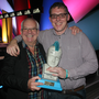 Norman Hewson with Bizimply co-founder Gerard Forde and their ESB Spark of Genius award