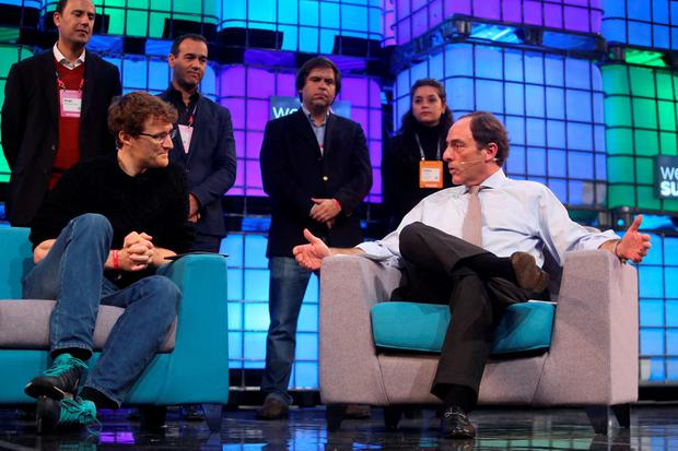 Web Summit chief Paddy Cosgrave and Portuguese Deputy Prime Minister Paulo Portas discuss the move to Lisbon at the RDS