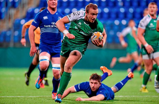 Ciaran Gaffney, of Connacht Eagles, on his way to scoring the first try against Leinster A in Donnybrook