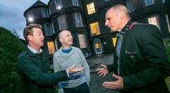 Yanis Varoufakis (right) with Kilkenomics founders David McWilliams and Richard Cook at Butler House in Kilkenny last night