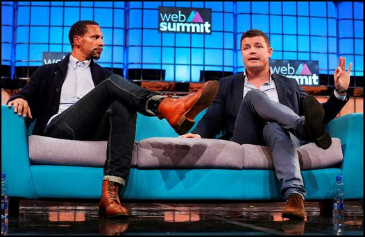 Rio Ferdinand and Brian O'Driscoll speaking at the Web Summit