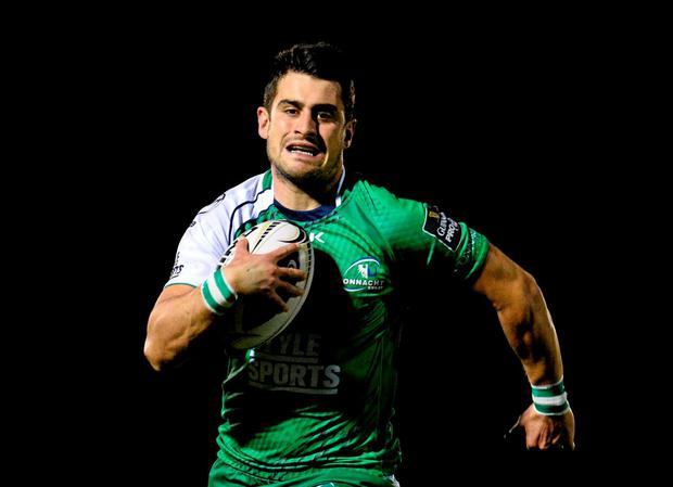 Connacht's Player of the Month Tiernan O'Halloran on the break