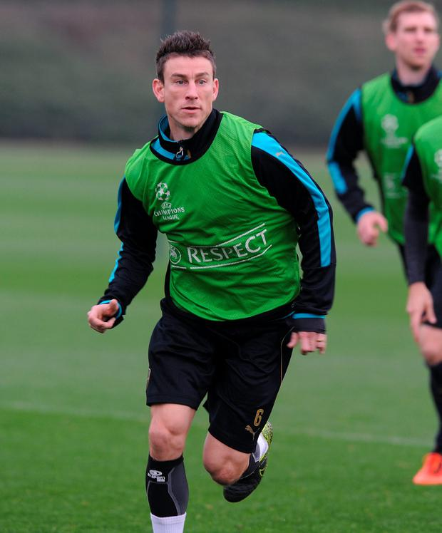 Laurent Koscielny of Arsenal during a training session at London Colney on November 3, 2015 in St Albans, England