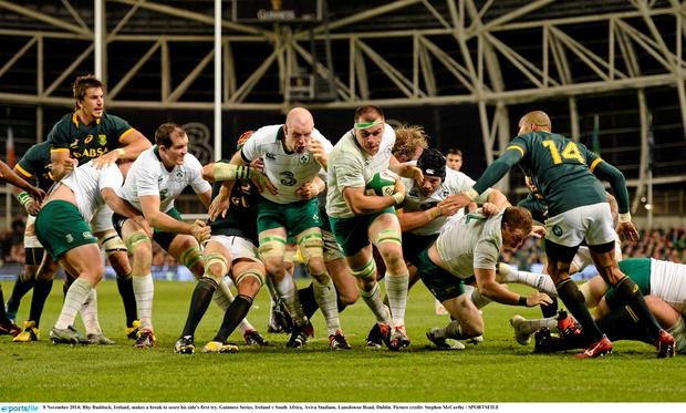 Ireland in action against South Africa in the Aviva Stadium