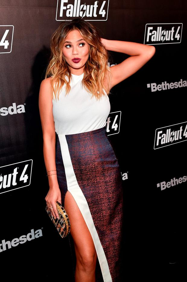 Model Chrissy Teigen attends the Fallout 4 video game launch event in downtown Los Angeles on November 5, 2015 in Los Angeles, California. (Photo by Mike Windle/Getty Images for Bethesda)